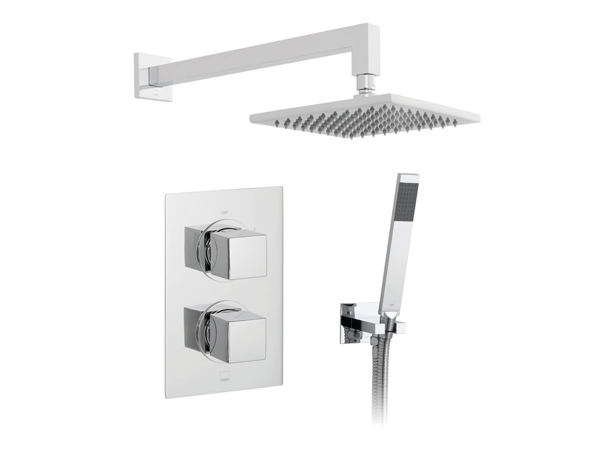 Thumbnail for 2 outlet, 2 handle concealed thermostatic shower valve, fixed head and shower hose with wall outlet bracket