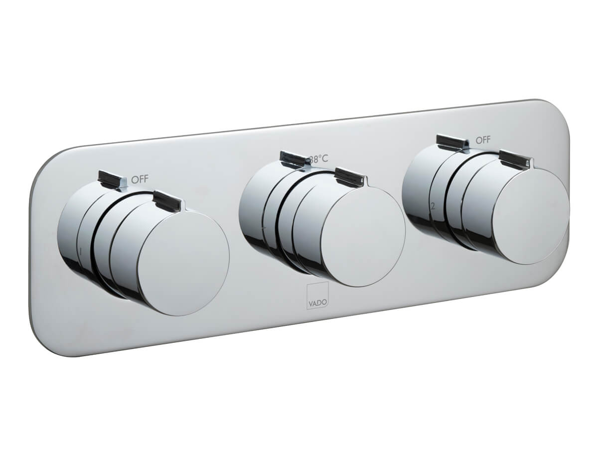 2 outlet, 3 handle concealed thermostatic shower valve thumbnail