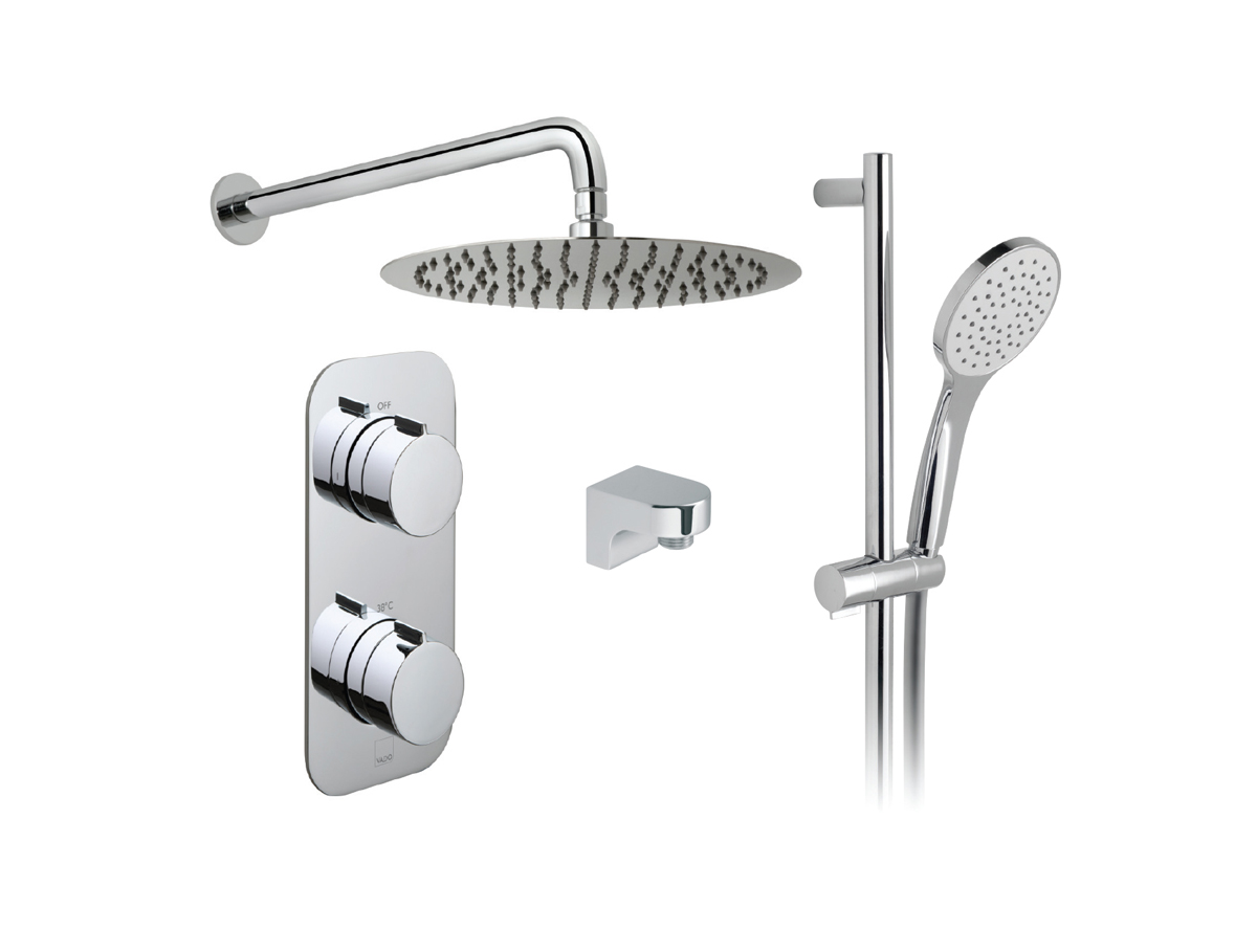 2 outlet, 2 handle concealed thermostatic shower valve, fixed head and slide rail kit thumbnail