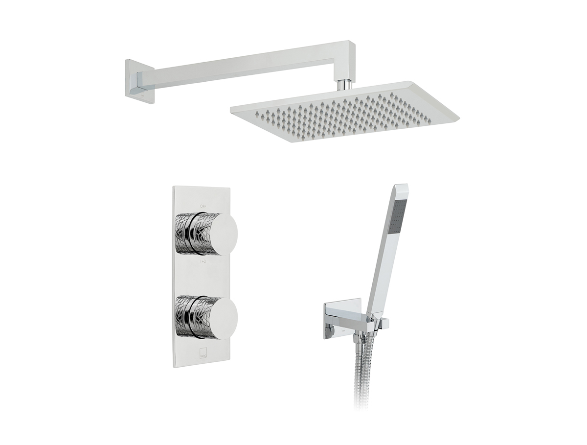 2 outlet, 2 handle concealed thermostatic shower valve, fixed head and shower hose with wall outlet bracket thumbnail