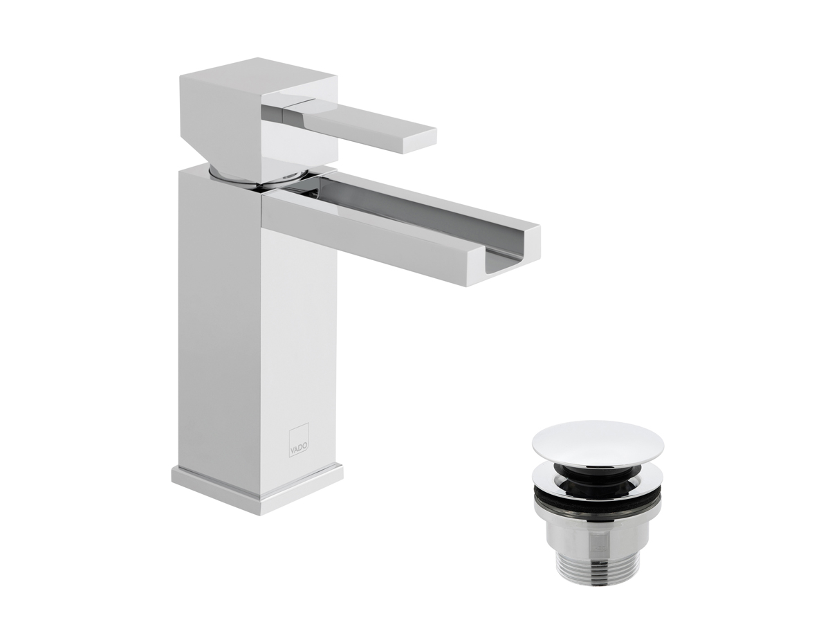 Square basin mono tap with universal waste thumbnail