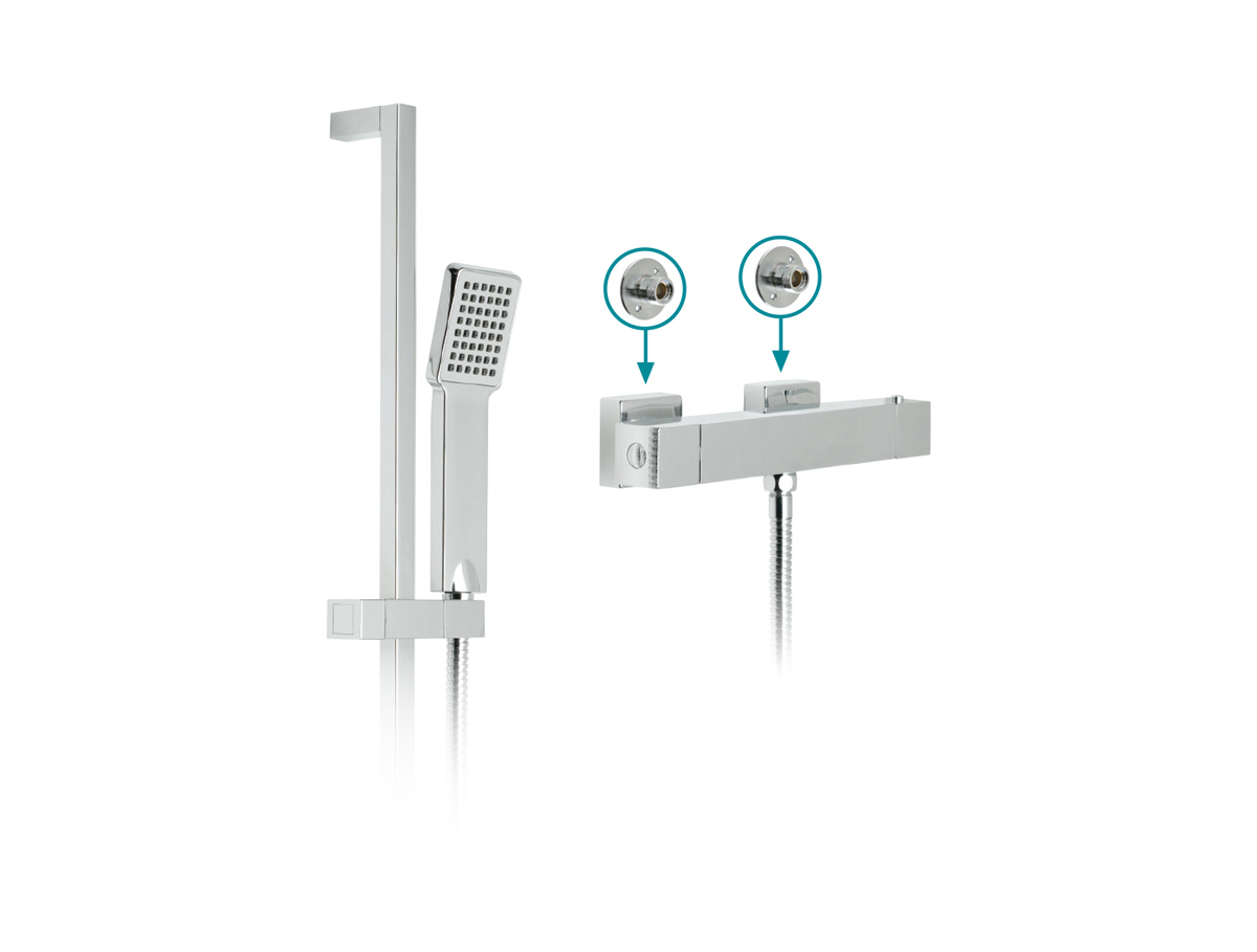 Exposed thermostatic shower valve and riser kit thumbnail